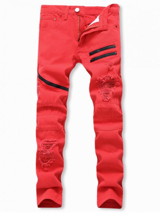 latest Destroyed Decorated Zipper Casual Jeans - RED 34