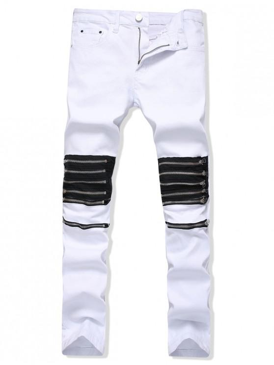 online Solid Color Zipper Decoration Casual Jeans - WHITE 34