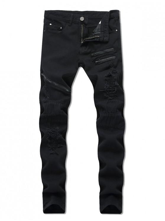 buy Destroyed Decorated Zipper Casual Jeans - BLACK 34