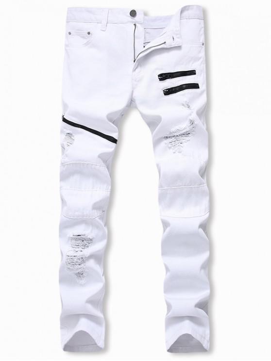 Casual Jeans Zipper decoradas destruidas - Blanco 34