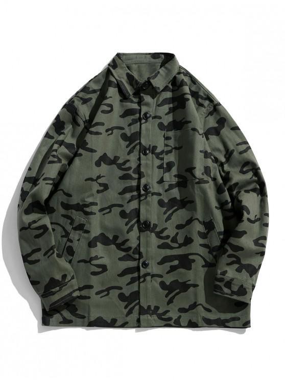 Camuflaje Imprimir bolsillo en el pecho botón de la camisa de la chaqueta - Ejercito Verde M