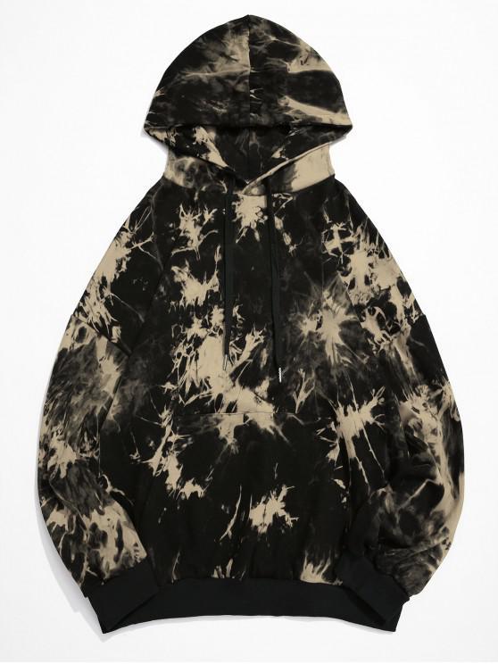 best Tie Dye Drop Shoulder Drawstring Pullover Hoodie - BLACK M