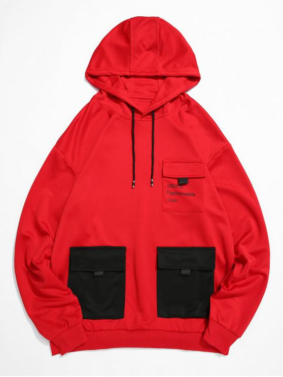 fashion Letter Print Flap Pocket Spliced Pullover Hoodie - RED XS