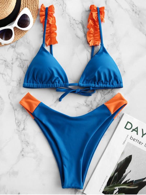 latest ZAFUL Colorblock Ruffle High Leg Bikini Swimsuit - BLUEBERRY BLUE S