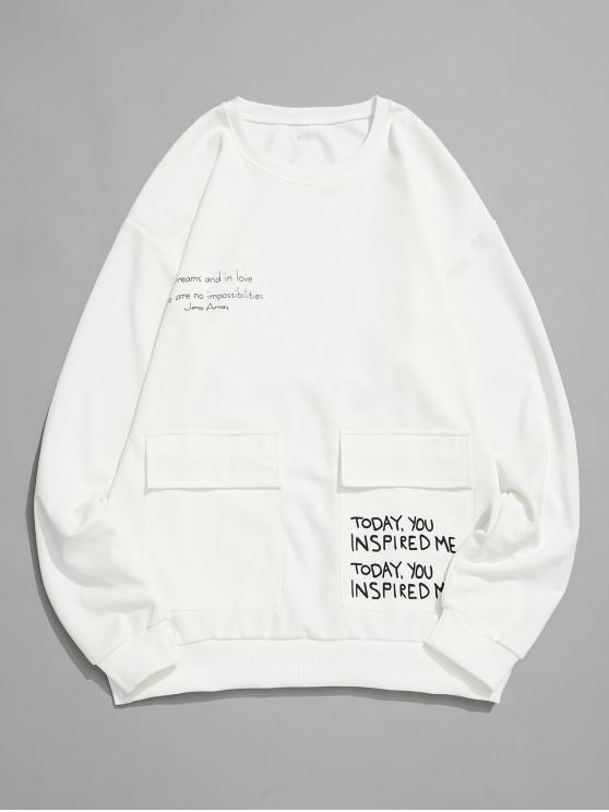 chic Letter Graphic Print Flap Pocket Crew Neck Sweatshirt - WHITE XS