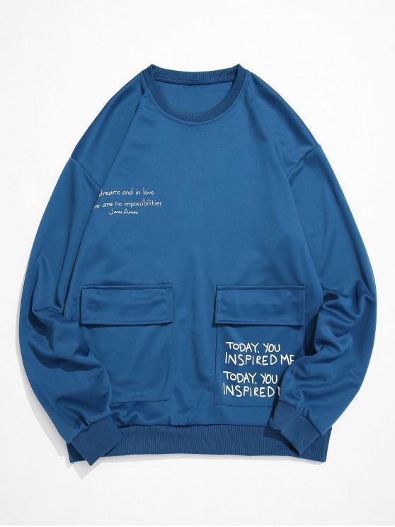 Carta de impresión gráfica de la aleta del bolsillo de cuello redondo de la camiseta - Azul de Seda XS