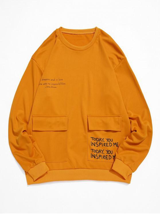 レターグラフィックを印刷フラップポケットクルーネックスウェットシャツ - 黄 L