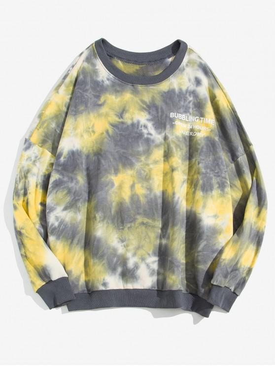 new Letter Print Tie Dye Drop Shoulder Sweatshirt - YELLOW 2XL