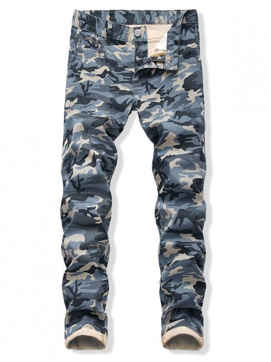 Camo Impreso con cremallera y Cuffed Casual Jeans - Azul 38