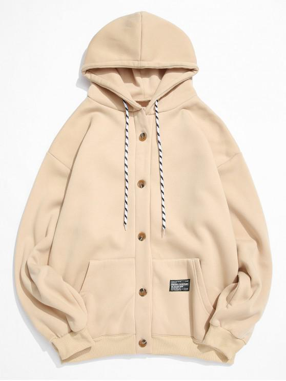 chic Solid Color Applique Button Fleece Hooded Jacket - KHAKI M