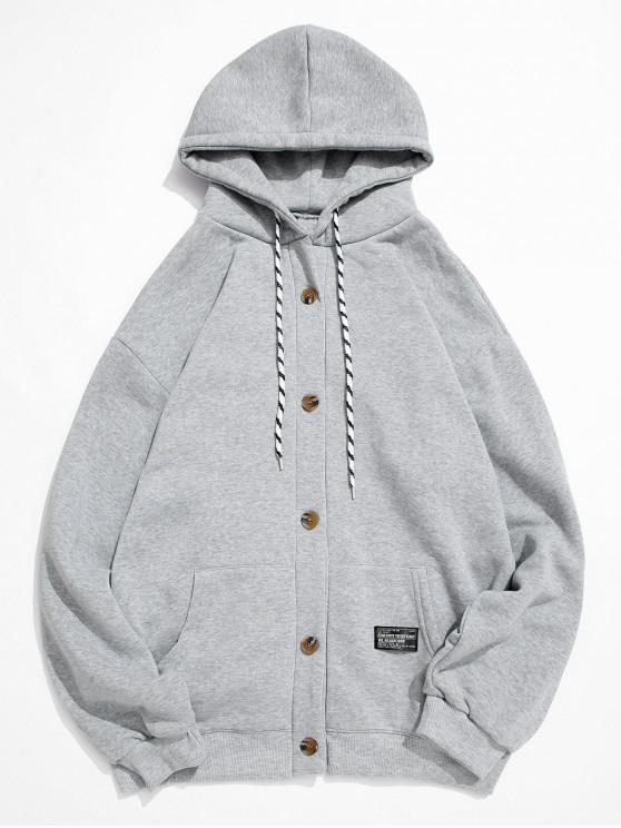 Botón sólido de color apliques paño grueso y suave de la chaqueta con capucha - Gris L
