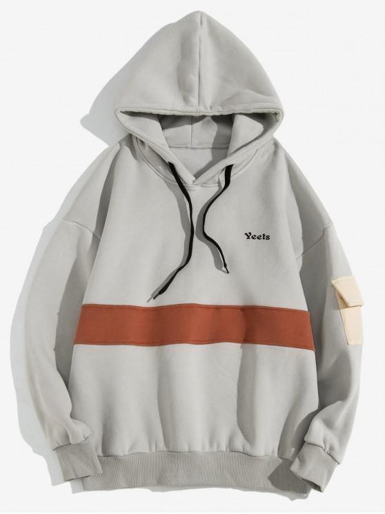 best Color Blocking Spliced Letter Print Fleece Pullover Hoodie - LIGHT GRAY XL