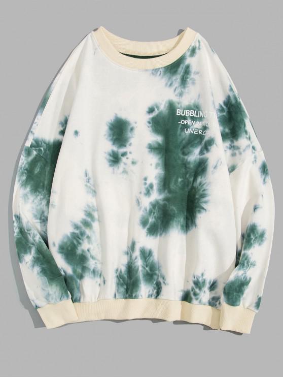 Impresión de la letra la camiseta de hombro del tinte del lazo gota - Aguamarina Mediana 2XL