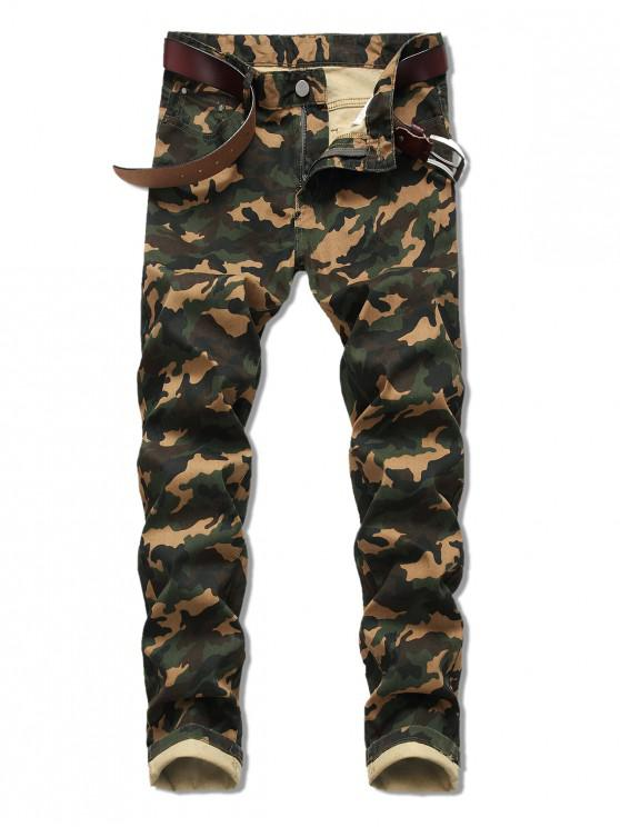 shop Camo Print Zip Fly Casual Jeans - ARMY GREEN 40