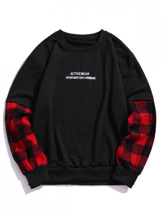 new Plaid Splicing Letter Embroidery Faux Twinset Sweatshirt - RED S