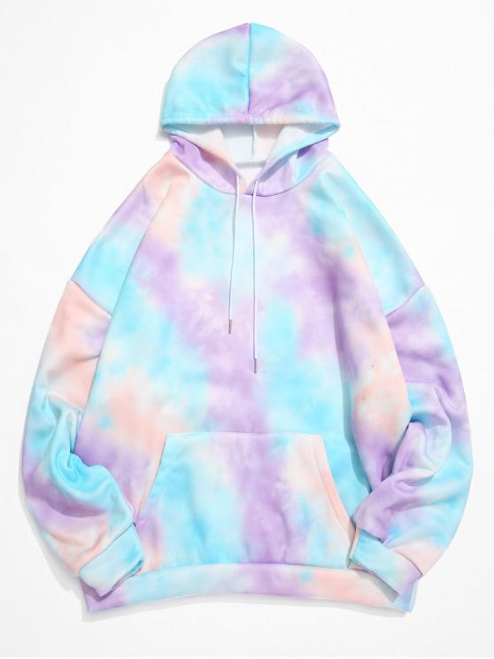 trendy Tie Dye Kangaroo Pocket Fleece Pullover Hoodie - PURPLE 2XL