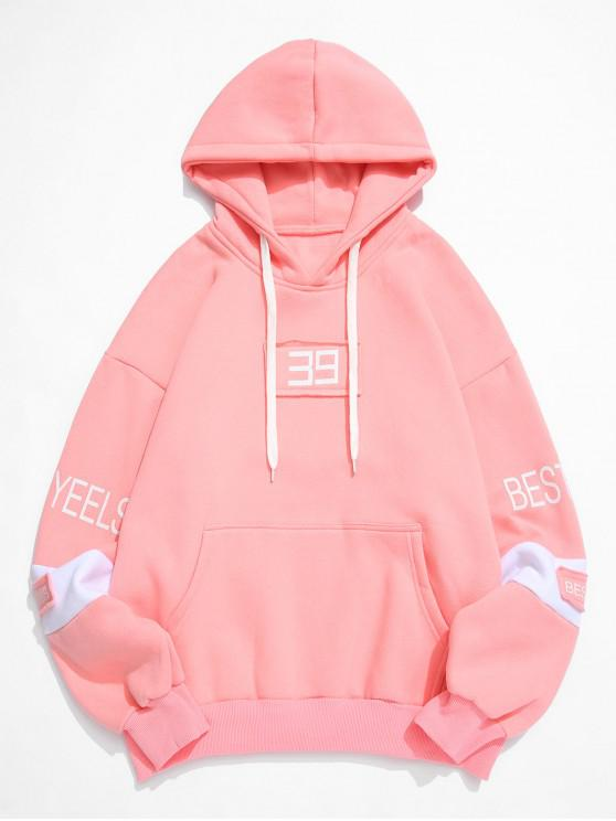 fashion Letter Patchwork Colorblock Spliced Fleece Hoodie - PINK 4XL