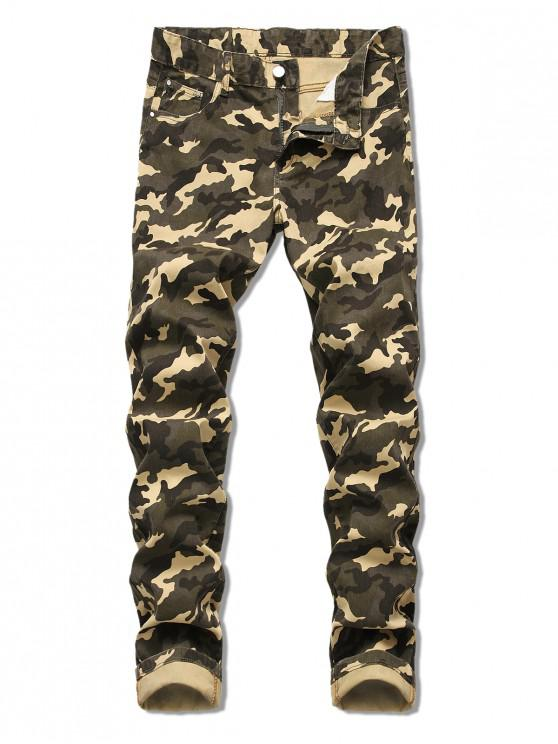 shops Camo Pattern Zip Fly Casual Cuffed Jeans - ARMY GREEN 40