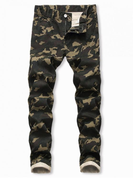 Modelo de Camo cierre de cremallera Casual Jeans - Ejercito Verde 34