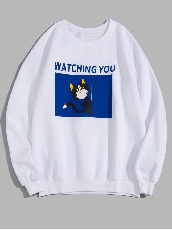 あなたに猫グラフィックプリントフリーススウェットシャツを見て - 白 M