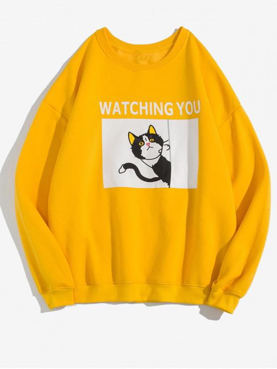 women's Watching You Cat Graphic Print Fleece Sweatshirt - BRIGHT YELLOW M