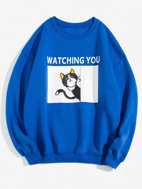 Gato que le mira Estampado Fleece con capucha - Azul de Arándanos 3XL