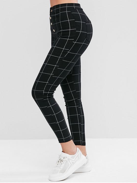 women's Mock Button Plaid Pockets Leggings - BLACK M