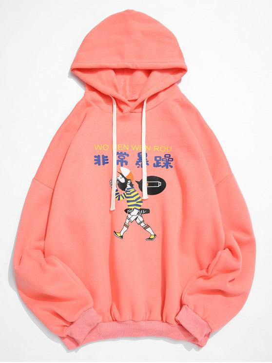 trendy Cartoon Character Letter Print Pullover Fleece Hoodie - FLAMINGO PINK L
