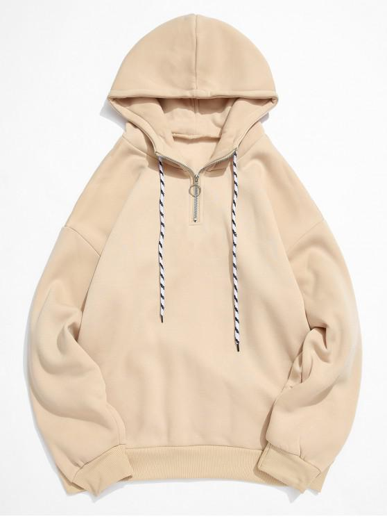 lady Solid Color Ring Half Zipper Fleece Hoodie - LIGHT KHAKI L