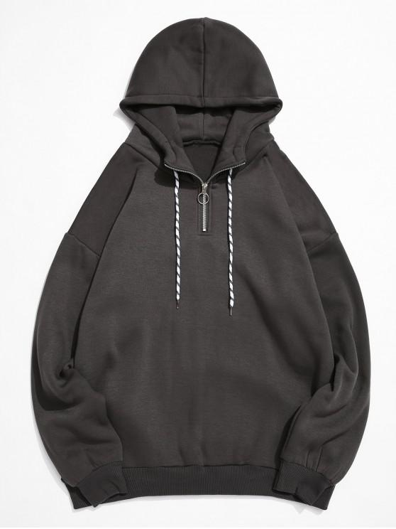 hot Solid Color Ring Half Zipper Fleece Hoodie - DARK GRAY XS