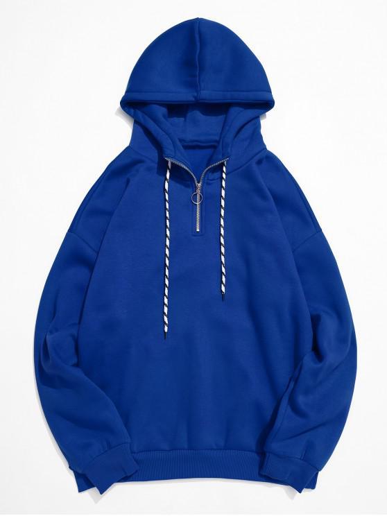 Anillo sólido Color mitad de la cremallera Fleece con capucha - Azul S