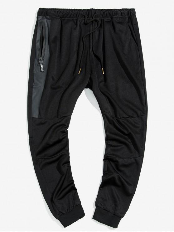 Bolsillo con cremallera Diseño basculador Pantalones - Negro XS