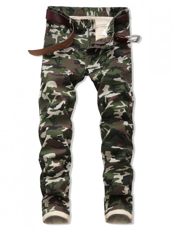 buy Camo Pattern Zipper Fly Casual Cuffed Jeans - ARMY GREEN 38