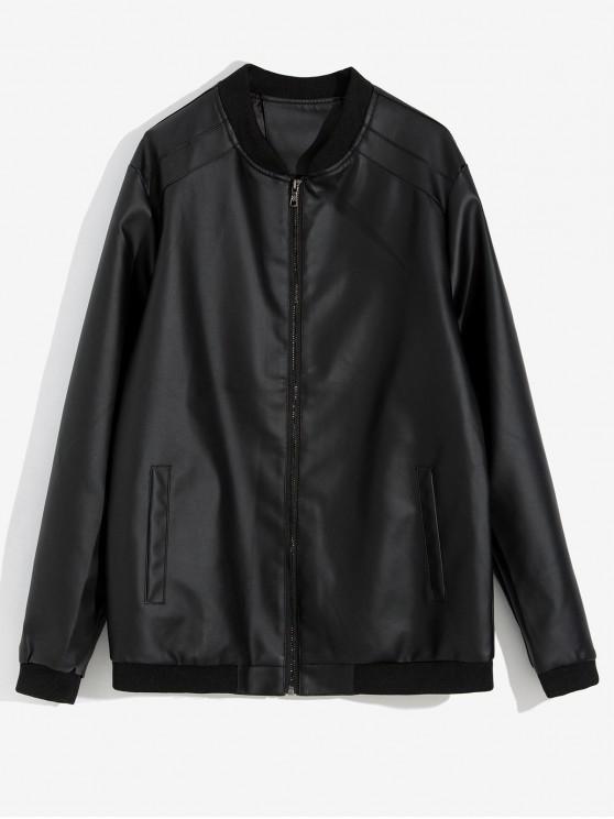 hot Solid Color Pocket Decorated Jacket - BLACK M
