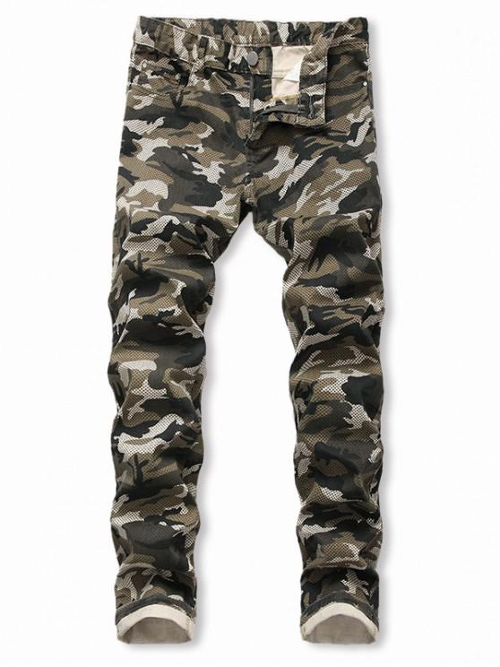 shop Camo Pattern Casual Zip Fly Cuffed Jeans - ARMY GREEN 40