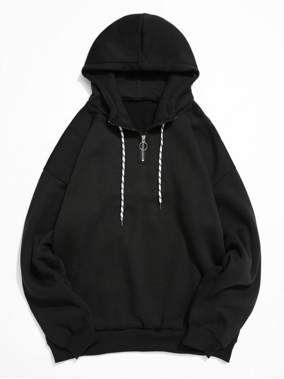 outfits Solid Color Ring Half Zipper Fleece Hoodie - BLACK M