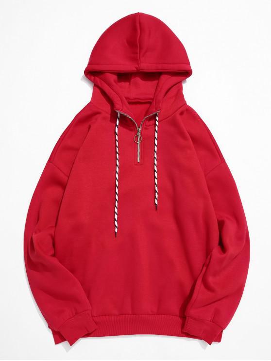 women's Solid Color Ring Half Zipper Fleece Hoodie - RED L