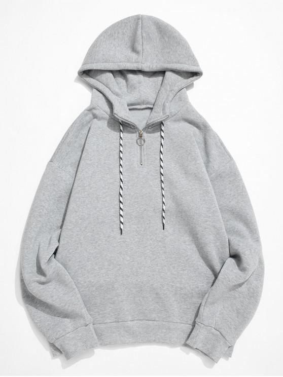 ladies Solid Color Ring Half Zipper Fleece Hoodie - LIGHT GRAY S