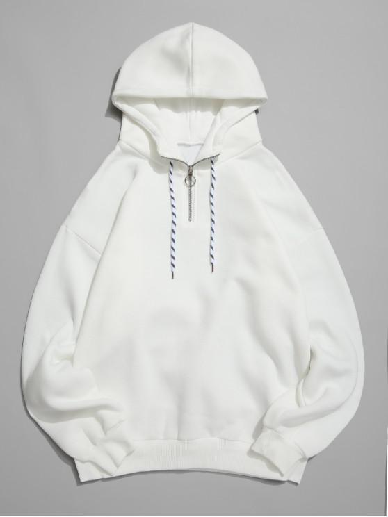 Anillo sólido Color mitad de la cremallera Fleece con capucha - Blanco XS