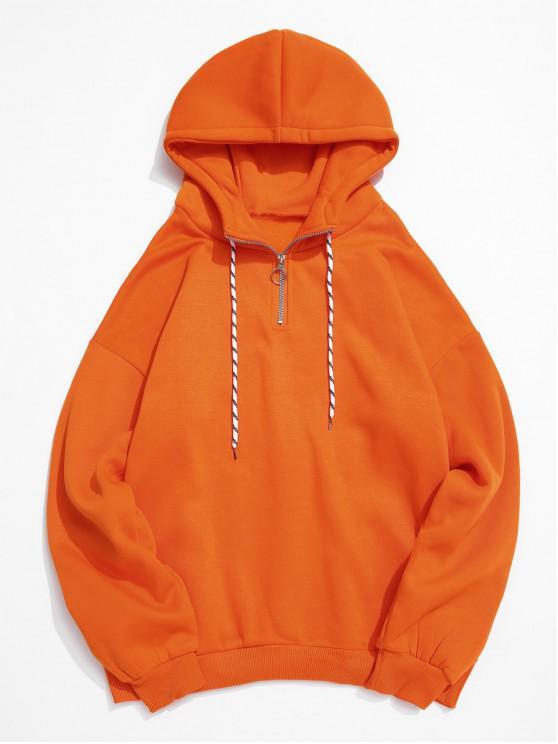women's Solid Color Ring Half Zipper Fleece Hoodie - ORANGE L