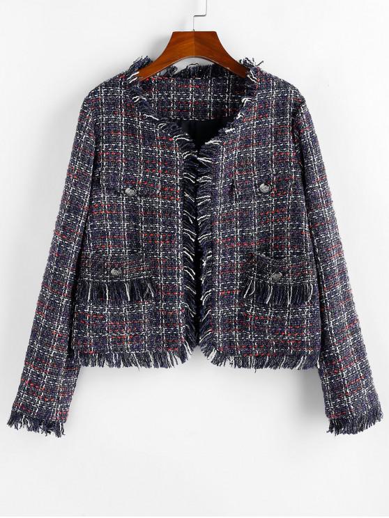 Popular Salezaful Plaid Pockets Frayed Hem Tweed Jacket   Midnight Blue S by Zaful