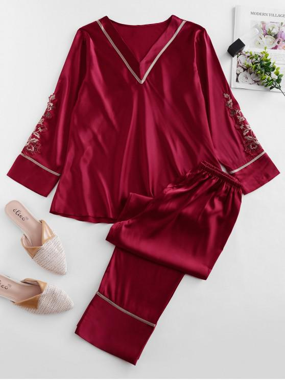 sale Satin Floral Applique Long Sleeve Pajama Set - CHERRY RED S