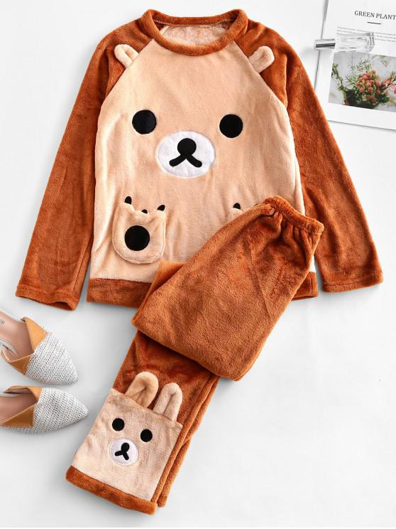affordable Funny Bear Fluffy Long Sleeve Pajama Set - APRICOT L