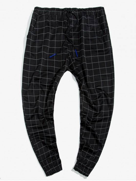 ladies Grid Print Drawstring Jogger Pants - MULTI XL