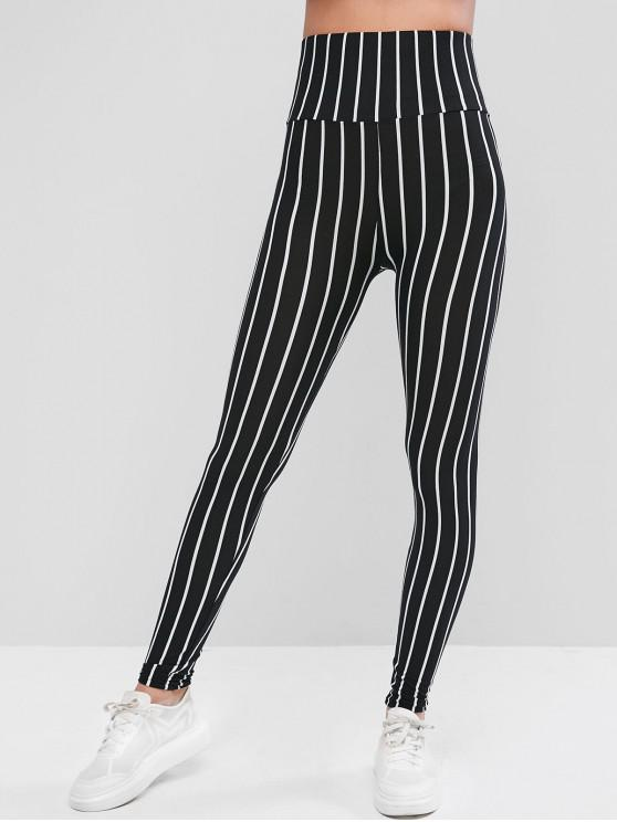 hot Wide Waistband Vertical Striped Leggings - BLACK L