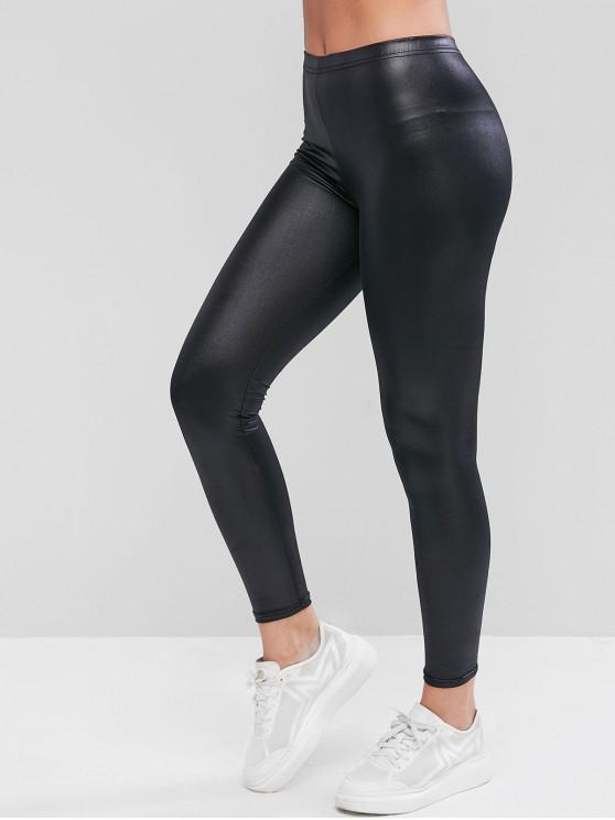 fashion Shiny Faux Leather Leggings - BLACK L