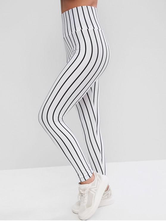 affordable Wide Waistband Vertical Striped Leggings - WHITE S