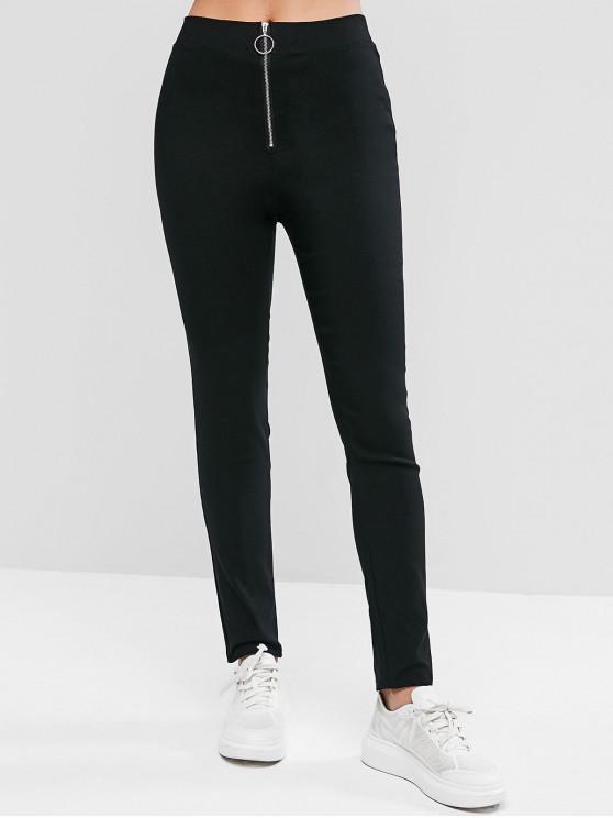 buy Zip Front Solid High Waist Leggings - BLACK L