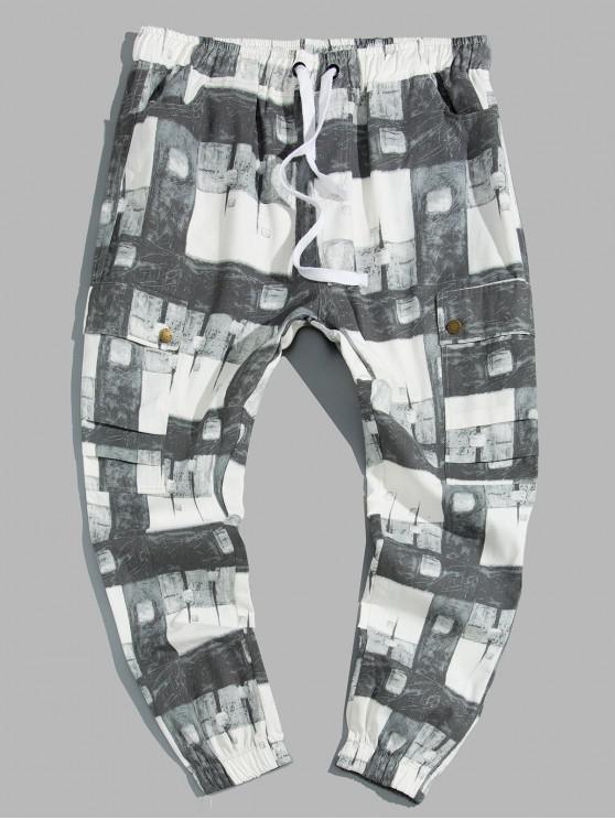 new Plaid Print Drawstring Cargo Jogger Pants - MULTI L