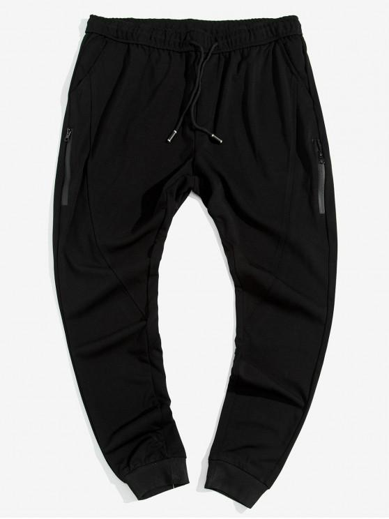 Zip decoración de lazo Pantalones Casual basculador - Negro M